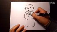 小沙弥儿童画人物跟李老师学画画