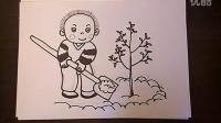 儿童画小朋友爱植树爱种树儿童画跟李老师学画画