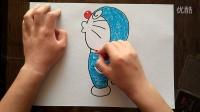 哆啦A梦-拍手扭头姿势儿童卡通色粉画跟李老师学画画