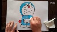 哆啦A梦愁苦状儿童卡通色粉画跟李老师学画画