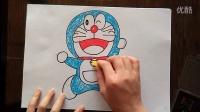 哆啦A梦喜悦向前跑姿势儿童卡通色粉画跟李老师学画画