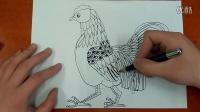 动物装饰-大公鸡色彩装饰画起稿人美版美术五年级下册跟李老师学画画