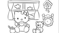 儿童绘画可爱的Kitty猫卡通动漫形象简笔画教程