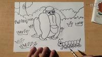 力大无穷的大猩猩跟(上)儿童画李老师学画画