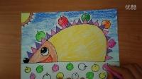 丰收的刺猬如何画3-5岁幼儿美术色粉画跟李老师学画画