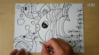 儿童画色彩斑斓的鱼儿起稿1幼儿绘画(3-5岁)跟李老师学画画