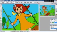 儿童画荡秋千的小女孩2电脑上色跟李老师学画画