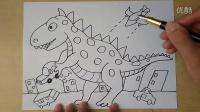 恐龙袭击城市怎么画3-5岁幼儿美术跟李老师学画画