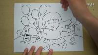 小女孩拿着气球和猫咪在玩耍怎么画3-5岁幼儿美术跟李老师学画画