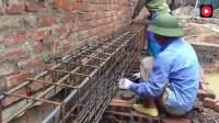 越南农村盖红砖房,墙体里的钢筋是如何安装的