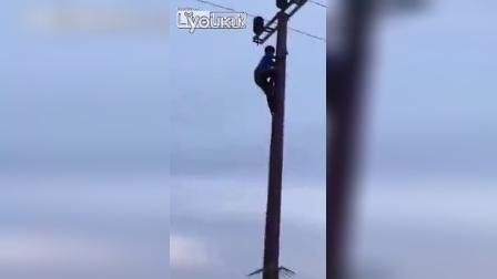 男子爬电线杆触电身亡