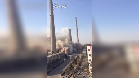 焦作电厂2号烟囱爆破。20150116-10:00