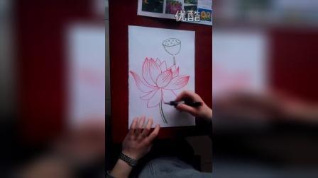 """儿童画画荷花2""""根""""李老师学画画"""