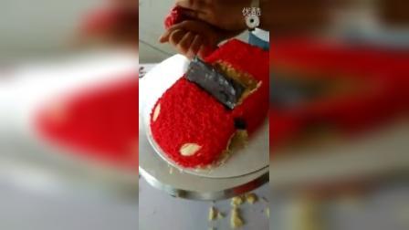 创意蛋糕制作 红色蛋糕汽车小气车制作流程