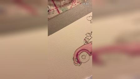 大侠水彩汽车小刺猬1:粉色汽车IMG_7327