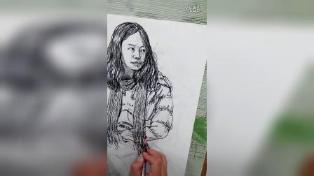 吴晓娟高考速写女青年坐姿羽绒服围巾靴子塑造部分