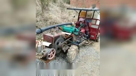 广西老表改装的老式手扶拖拉机接上三轮摩托车秒变汽柴混合双动力手扶拖拉机