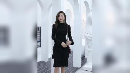 2019春新款女装韩版黑色中长款长袖修身收腰显瘦打底连衣裙蛋糕裙-淘宝网 (2)