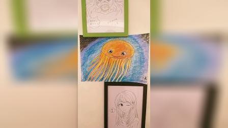儿童画深海水母。
