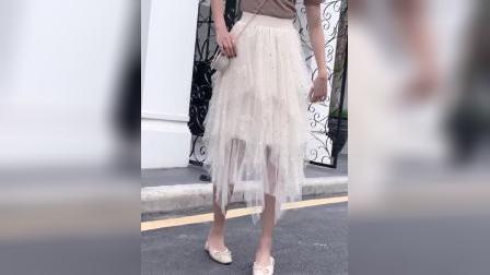 星星亮片网纱半身裙女春夏2019新款高腰蛋糕裙子百搭半身长裙纱裙