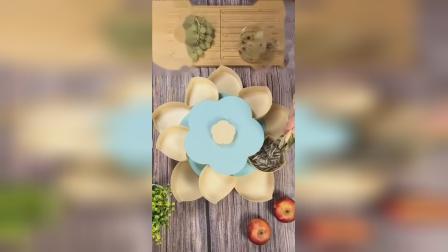 创意家用水果盘双层旋转果盘糖果盒分格带盖客厅干果瓜子零食收纳