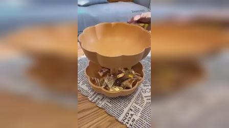 南瓜水果盆创意家用客厅塑料糖果盒零食盘双层干果盘春节年货果篮装饰
