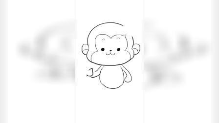 可爱的小猴子吃香蕉儿童简笔画