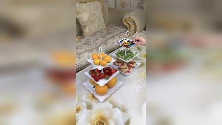 欧式三层水果盘甜品台多层蛋糕架干 果盘 茶点心托盘甜品台生日趴