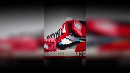 aj1球鞋积木模型黑红脚趾ow联名创意礼物小颗粒拼装图nba篮球玩具