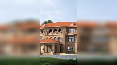 双层地下室超豪华欧式风格三层石材大别墅设计图纸