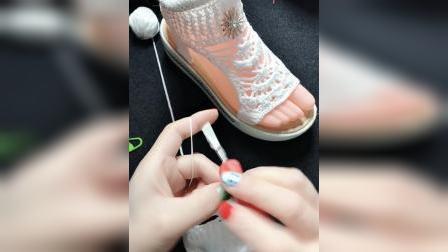 洋洋编织小屋扇形花凉鞋教程