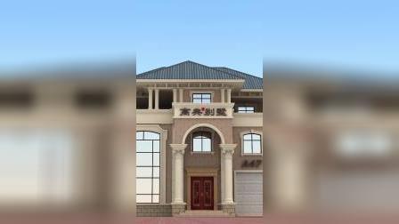 清新简约复式三层别墅外观图带车库
