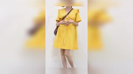 姜黄色娃娃领连衣裙#夏季少女心爆棚的单品!