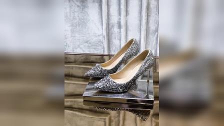 君晓天云婚鞋女2019新款新娘鞋结婚银色高跟鞋细跟少女法式网红小码水晶鞋