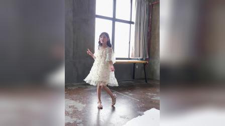 君晓天云女童短袖网纱洋装2019夏装新款女宝刺绣淑女裙中大童纱裙舞蹈裙