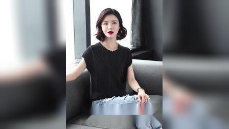 君晓天云一字肩上衣女短袖薄款2019夏季新款宽鬆短款配裙子的冰丝针织小衫