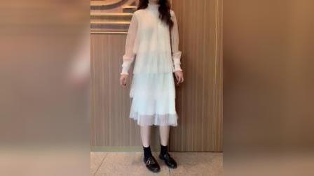 君晓天云蕾丝波点洋装女2019年新款网纱春装仙女超仙甜美小个子蛋糕裙夏