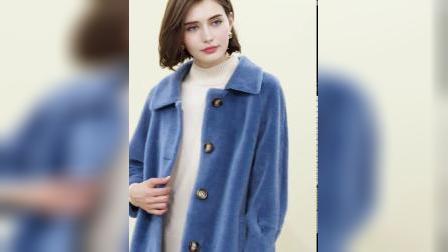 君晓天云科尚羊羔毛圈圈外套女中长版绵羊毛大衣冬装2018新款羊剪绒皮草