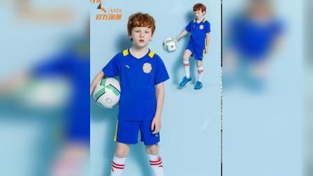 安踏儿童官方旗舰店童装男童足球服夏装2019新款速乾短袖运动套装