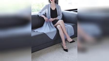 君晓天云防晒衣女夏季中长版披肩配裙子外搭薄款很仙雪纺开衫长版披风外套