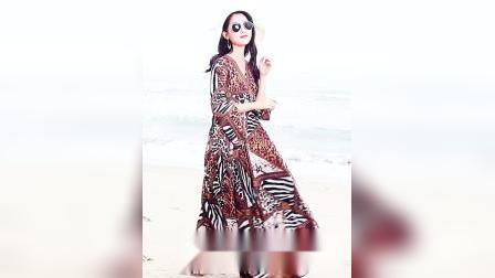 君晓天云绿慕2019女装新款春夏雪纺豹纹超长款大摆显瘦沙滩裙子长裙洋装