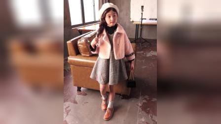君晓天云女童黄金貂外套格子背心裙套装秋冬款儿童仿貂绒夹克马甲裙两件套