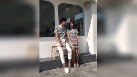 君晓天云2019新款情侣装夏装气质条纹polo衫女裙子T恤短袖韩版qlz年前的範