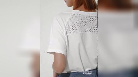 君晓天云鸿星尔克女速乾运动短袖T恤 2019春夏新款宽鬆吸汗速乾瑜伽夜跑服