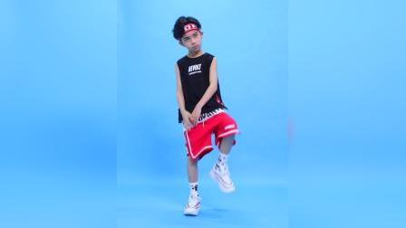 君晓天云儿童街舞套装男童嘻哈潮宽鬆背心夏季hiphop衣服幼儿街舞演出服装