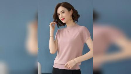 君晓天云冰丝T恤女短袖小高领夏季修身显瘦针织短款上衣搭配阔腿裤的小衫