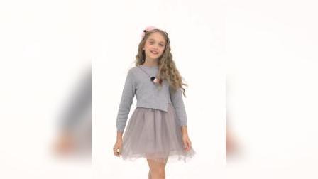 君晓天云聚米喜迪mecity童装新款薄纱拼接长袖毛衣女童洋装赠毛球项链