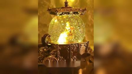 君晓天云新灰姑娘水晶球音乐盒八音盒发光雪花创意生日礼物女生送女友女孩