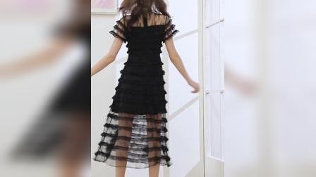 君晓天云洋装2019新款夏智薰裙法式桔梗裙很仙的法式复古网纱蕾丝蛋糕裙