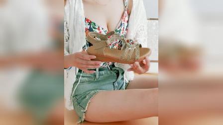 君晓天云百年菸斗凉鞋女2019夏季新款罗马女凉鞋民族风女鞋魔术贴厚底凉鞋